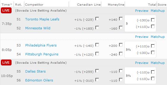 Hockey Bet Odds 37855